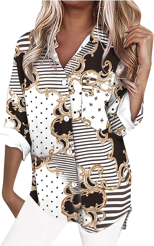 Autumn Women Tunic Tops Printed V-Neck Long Sleeve T-Shirts Slimming Cardigan Chain Decor Tops
