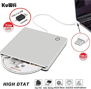 External CD DVD Drive Burner Player USB3.0 Type-C Portable Slim DVD/CD ROM Superdrive +/- RW Rewriter/Writer/Reader with H...