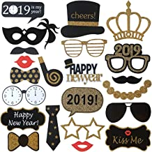New Years Photo Booth Props– Pack of 25, Sturdy Cardstock   2019 New Years Eve Photo Props Decorations Supplies   Great for Masquerade Themed New Year's Party Backdrop   Home Office Décor Accessories