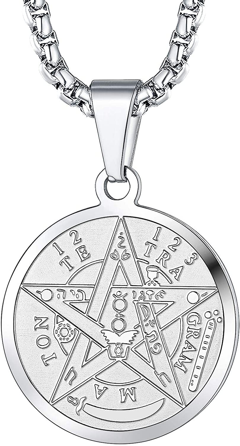FaithHeart Tetragrammaton Pentacle Necklace, Stainless Steel Pentagram Protection Wicca Jewelry for Men Women Can Customized