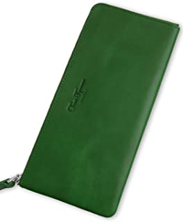 Dom Teporna Italy 財布 本革 イタリアンレザー L字ラウンドファスナー 大容量なのに薄い 長財布 メンズ レディース