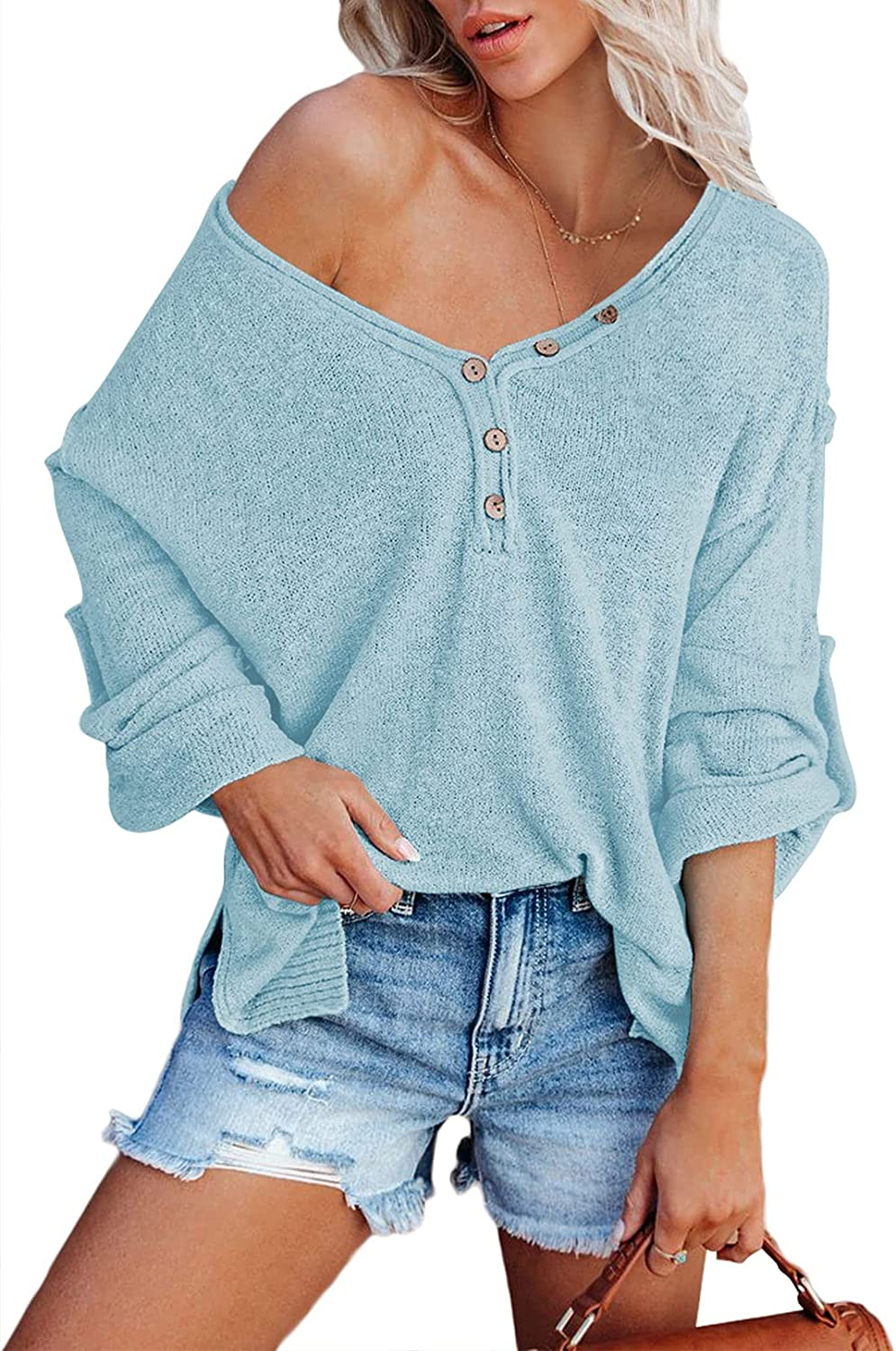 HAPCOPE Women's Batwing Sleeves V-Neck Button Knit Jumper Oversized Pullover Sweaters Tunic Henley Tops