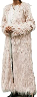 Women's Faux Fur Long Peacoat Tucker Long Sleeve Luxury Chunky Overcoat for Work Daily