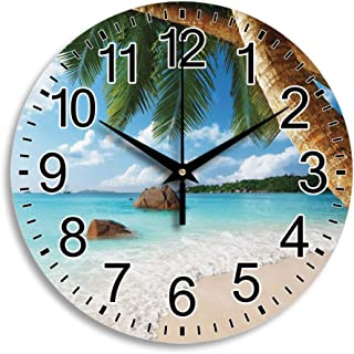 """Wall Clock Non Ticking Silent Quartz Sweeping Movement Round Arabic Numeral Battery Operated Whisper Quiet Anse Lazio Beach on Praslin Island Frameless Living Room Bedroom Kitchen Decoration 9.8"""""""