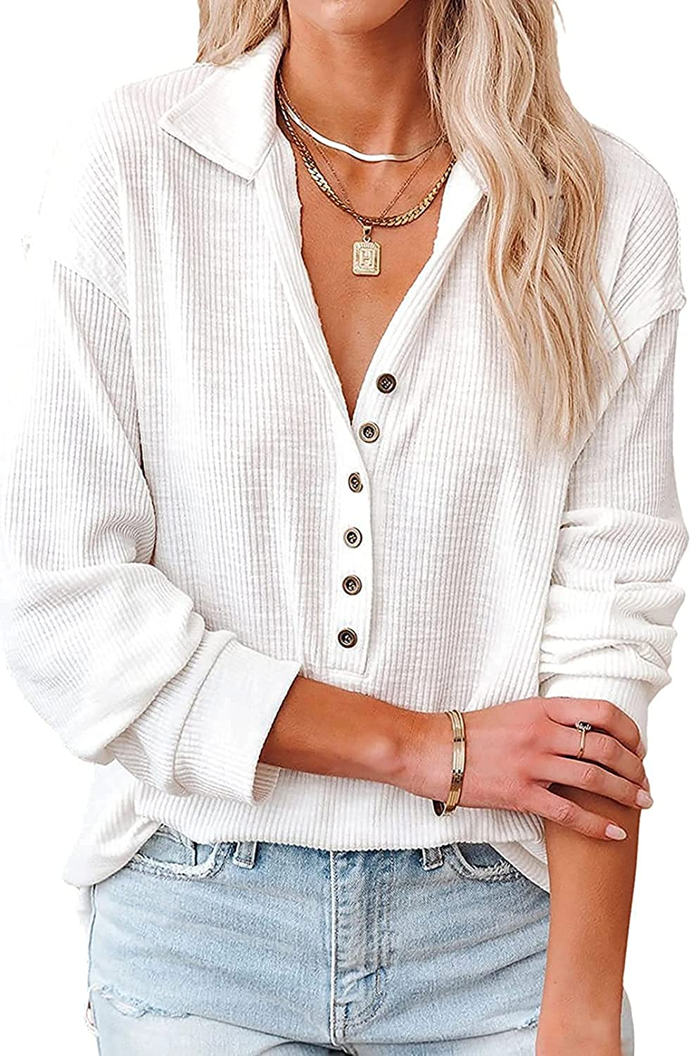 Women's Button Down V Neck Blouses Long Sleeves Ribbed Knit Loose Fit Casual Shirt Tops