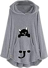 Womens Cat Embroidery Plus Size Warm Hoodie Top Pullover Sweatshirt Blouse Windbreaker Jacket Pea Coat Trench