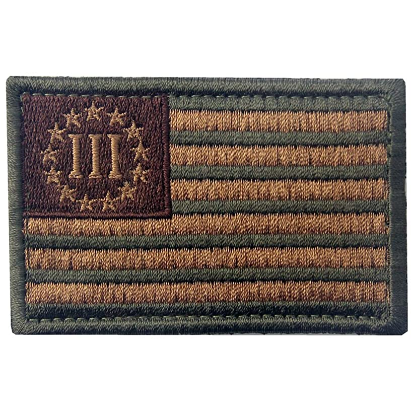 Tactical Three Three Percenter US Flag Embroidered Morale Hook & Loop Patch - Subdued Tan & Olive Drab