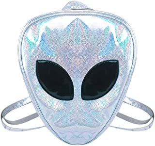 Aibearty Alien Backpack Holographic Triangle Rucksack Casual Bag (Pink Silver)