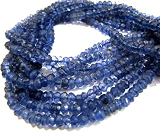 8 inches Long Strand Natural Deep Blue Colour Micro Cut Faceted Rondelle Beads Super sparkle huge size Beads size 7-8 mm approx Iolite