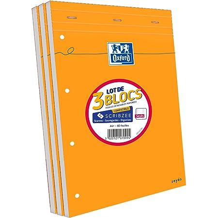Oxford Lot de 3 Bloc-Notes Agrafés Format A4+ (21x31,5cm) 160 Pages Grands Carreaux Seyès Perforées Couverture Orange