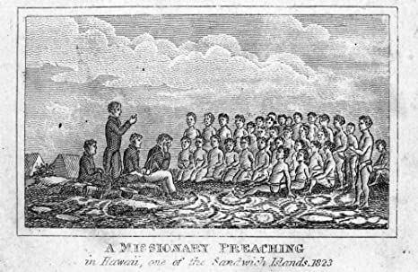 Amazon.com: Hawaiian Missionary 1823 Na Missionary Preaching In Hawaii In  1823 Line Engraving American 1832 Poster Print by (18 x 24): Posters &  Prints