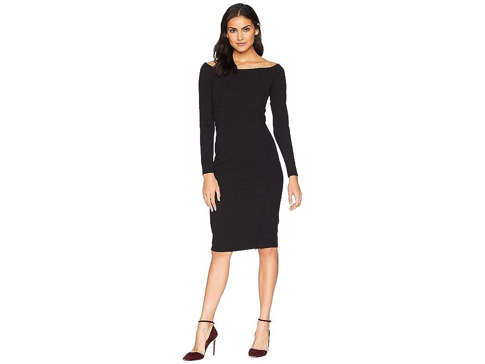 Bebe Back Zip Boat Neck Midi Dress (Black) Women