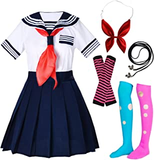 Elibelle Japanese School Girls Sailor JK Uniform Gray Pleated Skirt Anime Cosplay Costumes with Socks Set(SSF29)
