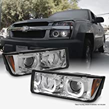 For 2002-2006 Chevy Avalanche [Cladding Body] Premium Dual Halo Rim Projector Headlights Assembly
