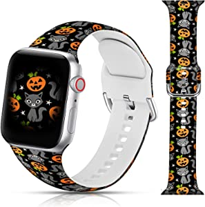 Halloween Design Sport Bands Compatible with Apple Watch 38mm 40mm 42mm 44mm for Women Men Girls, LAACO Halloween Pumpkin Cat Silicone Wristbands Replacment Strap for iWatch SE/Series 6/5/4/3/2/1