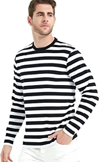 LEDING Men's T-Shirt Casual Cotton Spandex Striped Crewneck Long-Sleeve T-Shirts Basic Pullover Stripe Man tee Shirt