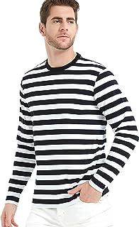 LEDING Men's T-Shirt Casual Striped Crewneck Long-Sleeve T-Shirts Basic Pullover Stripe Man tee Shirt