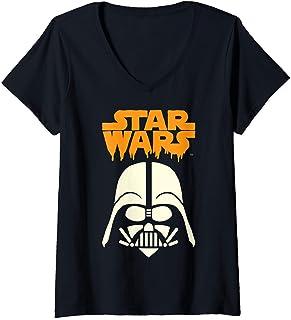 Femme Star Wars Darth Vader Dripping Ooze Logo Halloween T-Shirt avec Col en V