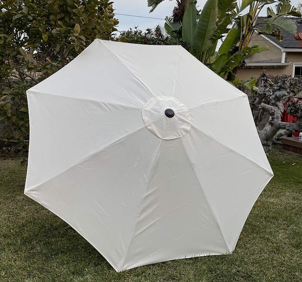 BELLRINO Replacement Long Beach Mall Cream Umbrella Sales Canopy for Cano Ribs 8 ft 9