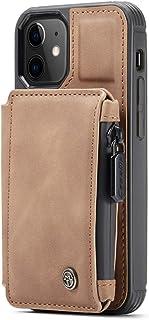 """iPhone 12 Mini case 5.4""""/ iPhone 12 case 6.1""""/iPhone 12 Pro case 6.1""""/ iPhone 12 Pro Max case 6.7"""" Leather Zipper Wallet C..."""