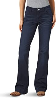 Wrangler Women's Retro Mae Mid Rise Wide Leg Trouser Jean, Dark Blue, 7W x 36L