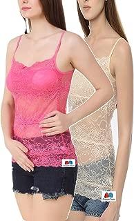 GRAPPLE DEALS Combo of 2 Colours Elegant Full Net Floral Camisole Light Padded Vest Bralette Camisole for Women.