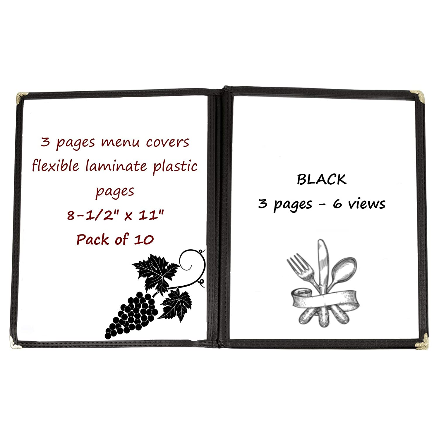 10-PCS 3-Pages Black Menu Covers Laminate Plastic Restaurant Menu Covers Book Fold Stitched with Gold Decorative Corners Commercial Quality Size 8-1//2 x 11