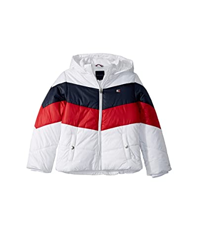 Tommy Hilfiger Kids Short Length Chevron Puffer Jacket (Big Kids) (White) Girl