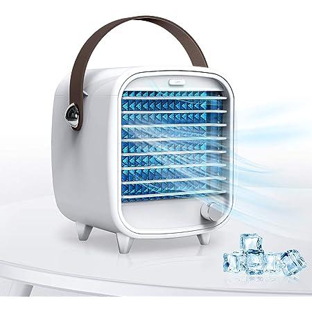 SmartDevil Climatiseur Mobile, Refroidisseur d'air Personnel et Portable, Refroidisseur évaporatif avec bac à glaçons, Mini Ventilateur pour Le Bureau, la Chambre,Super Silencieux,veilleuse (Blanc)