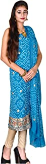 Kasturi-B Women's Blue Pure Georgette Bandhej Gota-Patti Work 3pc Suit