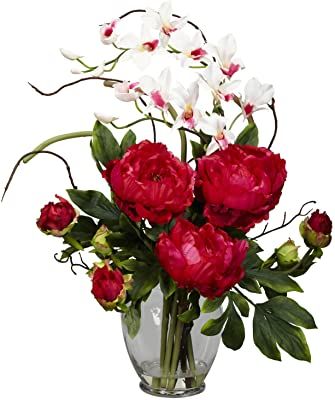 Amazon Com Nearly Natural 1175 Rd Peony And Orchid Silk Flower Arrangement Red 29 X 10 25 X 10 25 Home Kitchen