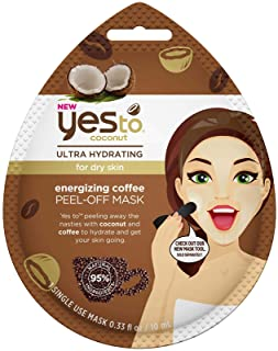 Yes To Coconut Ultra-Hydrating Energizing Coffee Peel-Off Mask - Single Use | For Dry Skin | Coconut and Coffee To Hydrate...