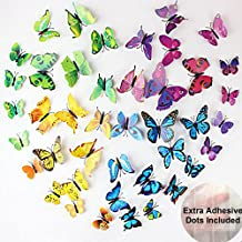 ElecMotive 60 Pcs 5 Packs Beautiful 3D Butterfly Wall Decals Removable DIY Home Decorations Art Decor Wall Stickers & Mura...