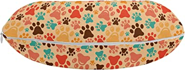 "Ambesonne Dog Lover Travel Pillow Neck Rest, Colorful Paw Print Pattern with Various Sizes Abstract Animal Canine and Feline, Memory Foam Traveling Accessory for Airplane and Car, 12"", Multicolor"