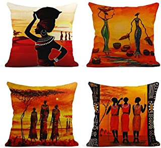 ArtSocket Set of 4 Linen Throw Pillow Covers Oil Painting African Art Ethnic Tribe Lady..