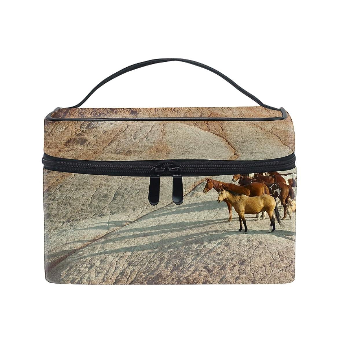 誘惑するジョブ拡散する化粧ポーチ ワイヤーポーチ 収納ケース レディース馬の群れの丘