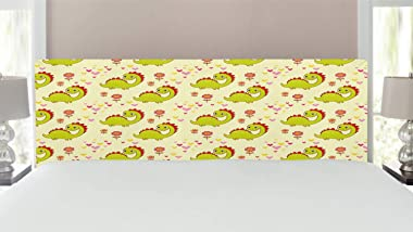 Ambesonne Dinosaur Headboard, Dinosaur Characters with Spring Meadow Flowers Hearts, Upholstered Decorative Metal Bed Headboa