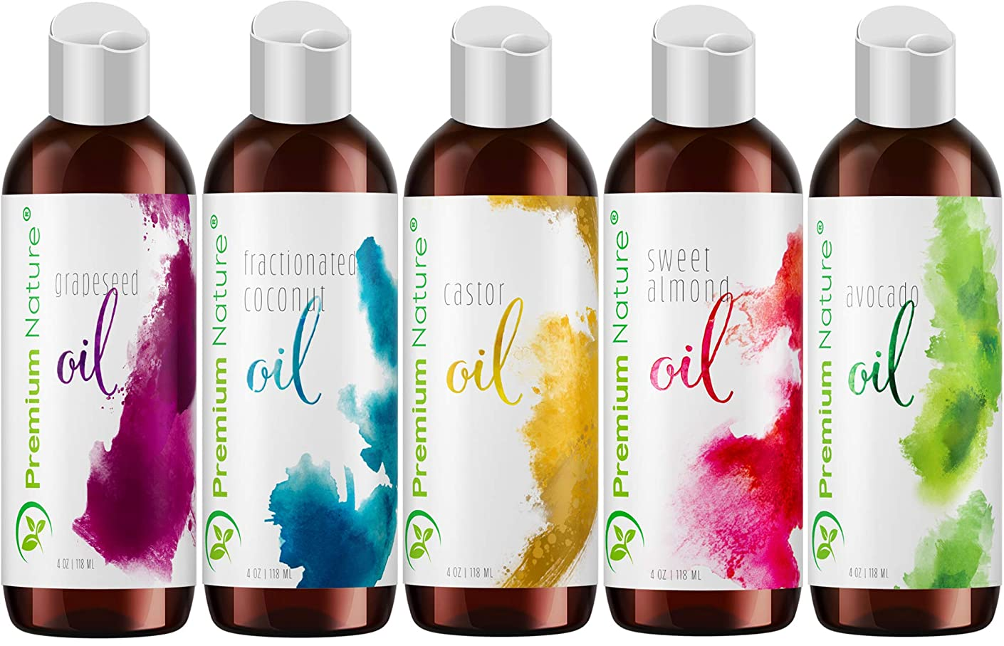Carrier Oils For Essential Oil - 5 Piece Variety Pack Gifts Sets Coconut Oil Castor Oil Grapeseed Oil Avocado Oil & Sweet Almond Best Oils for Stretch Mark Dry Skin Body Massage Packaging May Vary