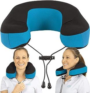 Xtra-Comfort 低反発素材 ネックトラベルピロー - 飛行機/車/旅行の輪郭サポート - ラウンドクッションとカバー - ソフトで快適 女性 メンズ - 飛行機/睡眠/痛みのためのクールなしっかりとしたパッド