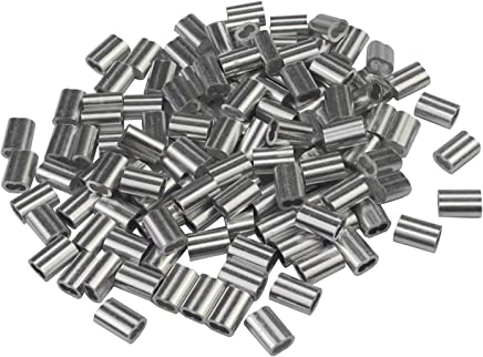 """WeiMeet 200 Pieces Aluminum Wire Rope Crimping Loop Sleeves for 1/8"""" Wire Rope and Cable"""