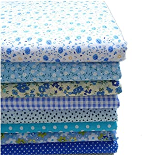 KINGSO 8PCS Cotton Fabric Bundles Quilting Sewing Patchwork Cloths DIY Craft 19.7x19.7inch Blue Series
