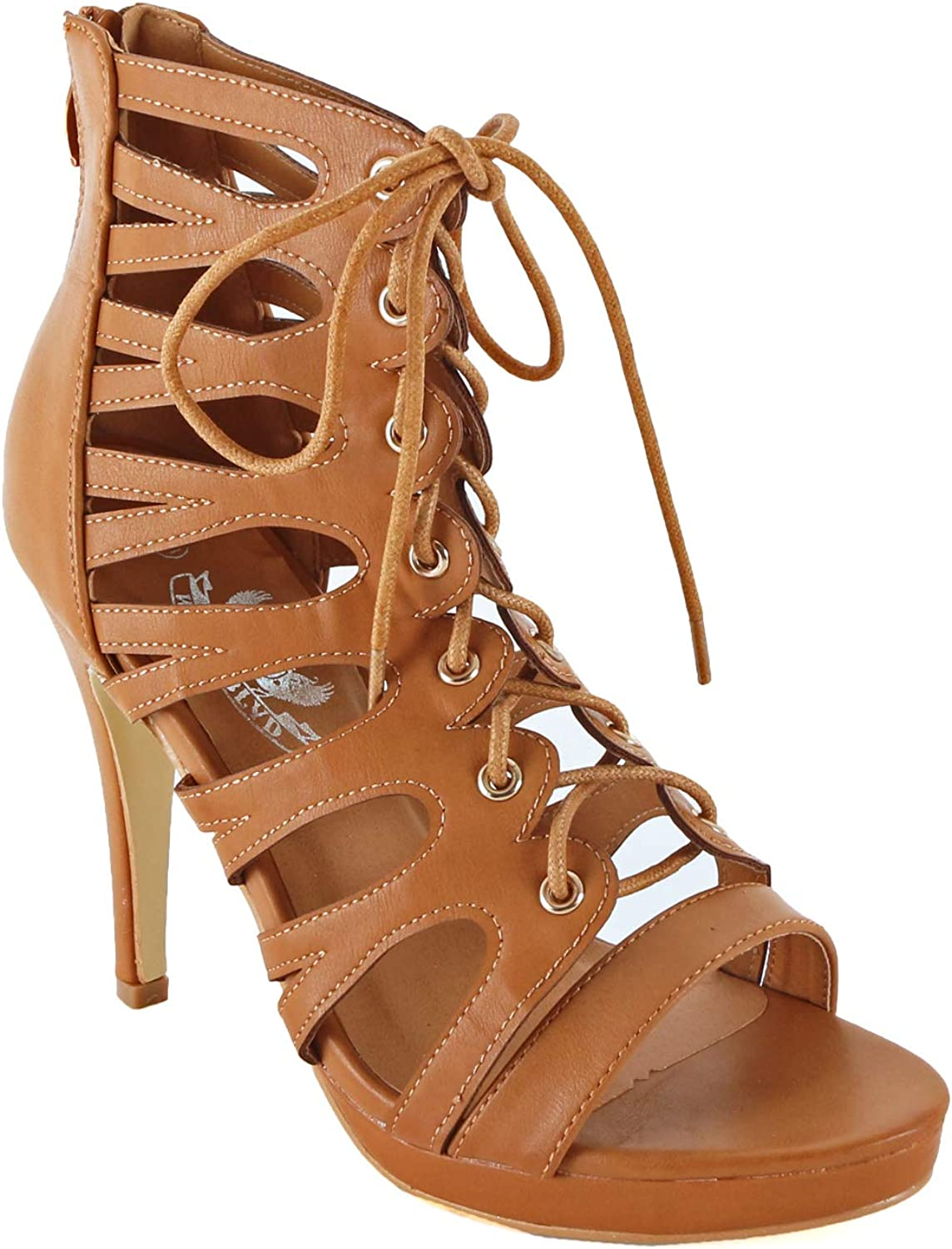 Guilty Heart Womens Cutout Gladiator Lace up High Heel   Open Toe Caged Stiletto Sandals
