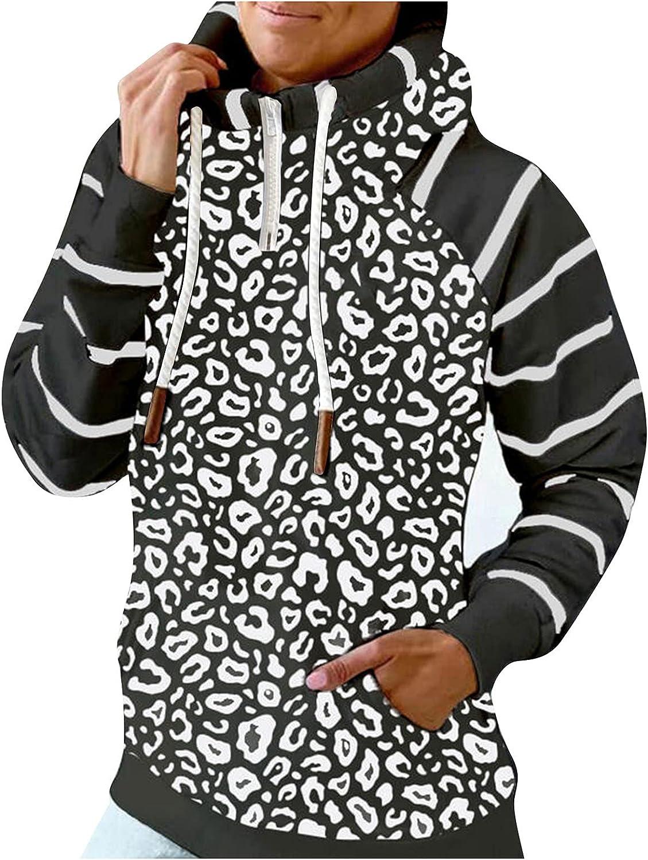 Womens Fashion Turtleneck Leopard Striped Hoodie Drawstring Pocket High Neck Hooded Sweatshirt Long Sleeve Pullover