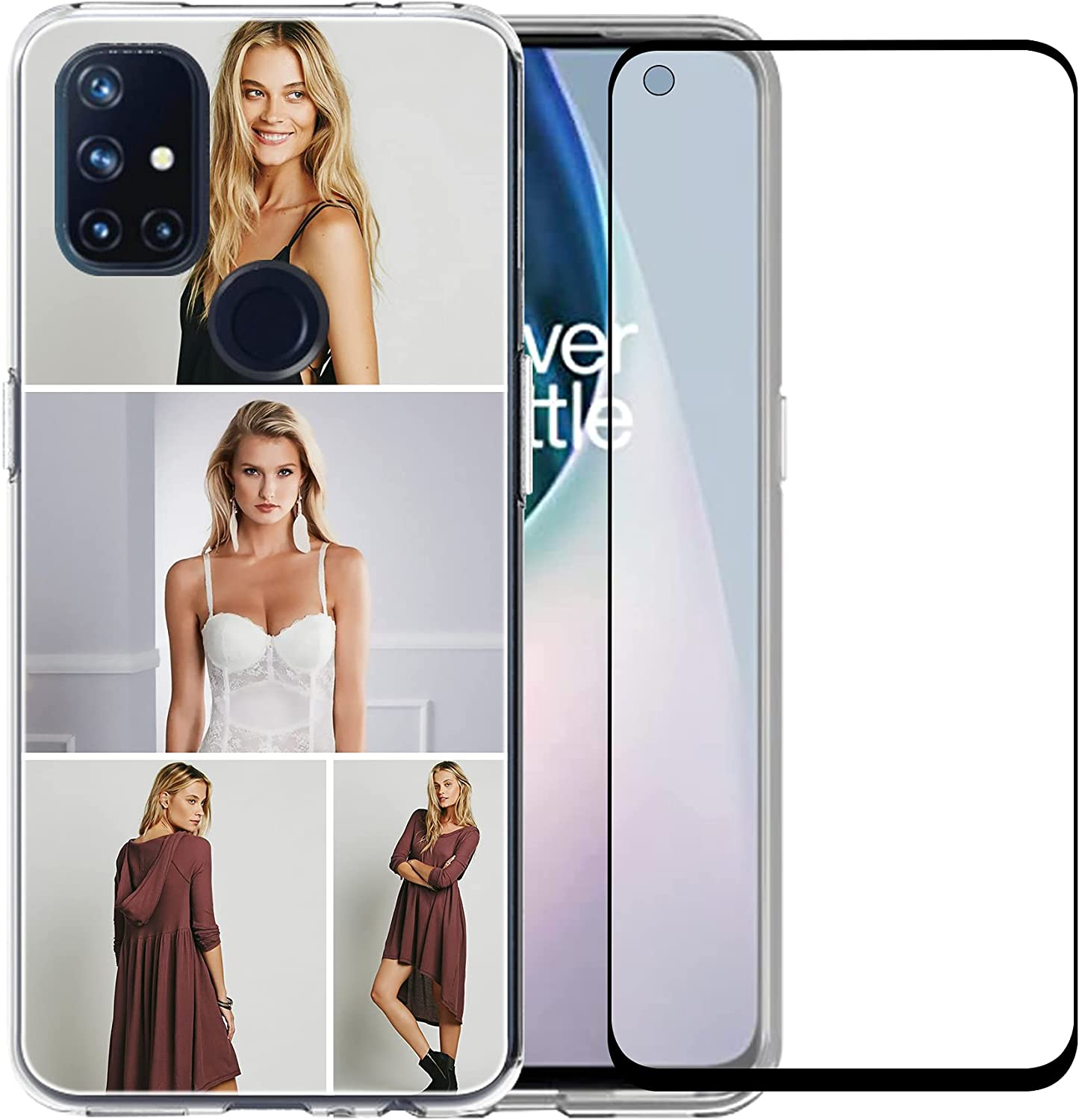 Custom Clear Case Compatible with OnePlus Nord N10 5G 6.49'' with Your Photo and Name Phone Case with 1 Pack Screen Protector for Ladies,for Girls,for Women,for Mother,for Men(Clear Layout 4 Pictures)