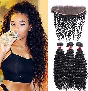 Haha Brazilian Deep Wave Bundles with Frontal (24 26 28+22) 8A Unprocessed Virgin Human Hair Deep Curly 3 Bundles with Frontal Closure 13x4 Ear to Ear Lace Frontal with Bundles