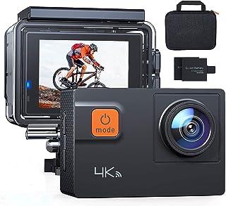 【Actualización】 Cámara de acción A80 4K 20MP Wi-Fi Sports Cam 4X Zoom EIS 40M Impermeable Subacuático Camcoder con 19 acce...