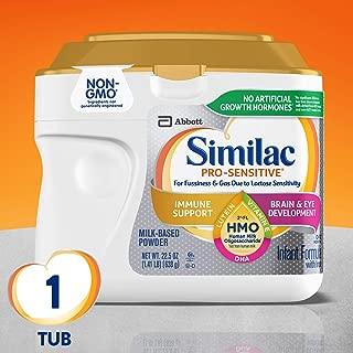 Similac 雅培 Pro-Sensitive Non-GMO 婴儿配方奶粉,含铁,含2'-FL HMO,22.5盎司(638克)(单桶)
