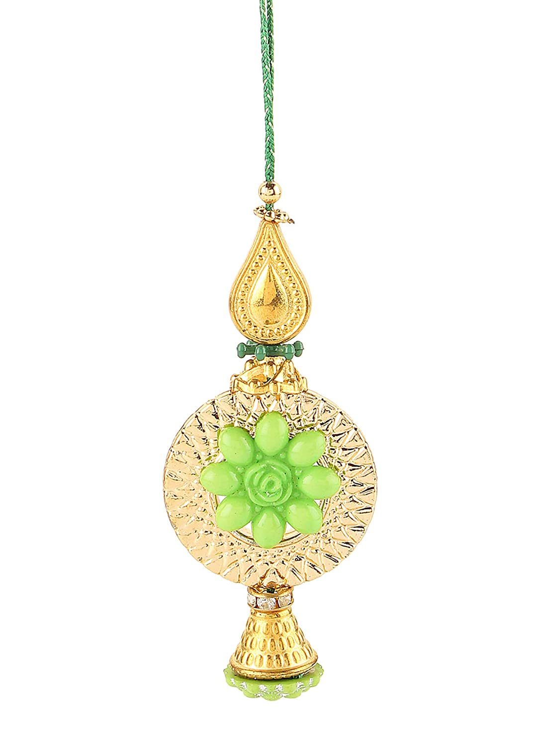 Handcrafted Pyari Bhabhi Green Color Lumba Rakhi Thread for Sister in Law Raksha Bandhan Celebration of Hindu Festival (Green)
