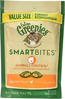 Greenies (6 Pack) Feline SMARTBITES Hairball Control, Chicken Flavor (4.6 oz Per Pack)