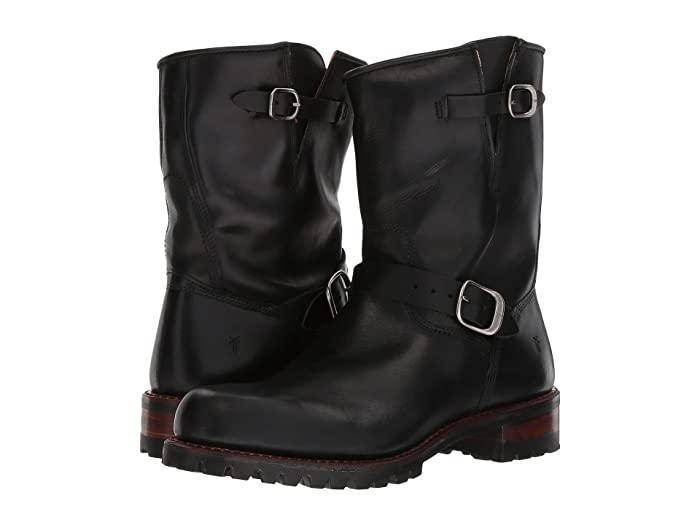 Frye  Addison Lug Engineer (Black Smooth Pull Up) Mens Pull-on Boots